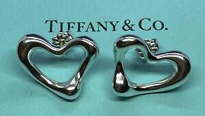 Tiffany Co. Elsa Perreti Large Heart Shaped Sterling Silver .925 Post Earrings