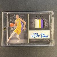 LONZO BALL 2017 PANINI NOIR #350 3-COLOR PATCH AUTO ROOKIE RC #'D 28/99 NBA