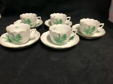 Herend Hungary fine porcelain green Bouquet demitasse and saucer