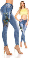 jeans donna ricamo fiore rilievo paillettes vita alta pantalone elasticizzato