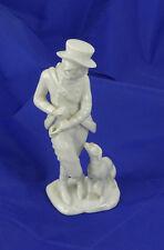 Augarden Wien Man With Dog Blanc De Chine Porcelain Figure Austrian