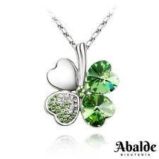 f08d45f724b7 Collar Mujer Trébol Suerte Corazón Verde Swarovski Amor Regalo idea Pareja  Novia