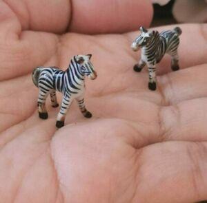 2 Zebra Wild Animal Dollhouse Miniatures Tiny Ceramic Animal Figurines Decor