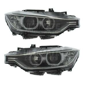 BMW 3 Series F30 2011-2015 Black Projector LED White Angel Eyes Headlights Lamps