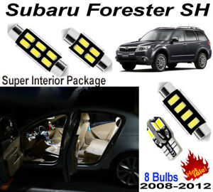 8pcs Xenon White LED Interior Dome Light Kit For Subaru Forester 2008-2012 SH