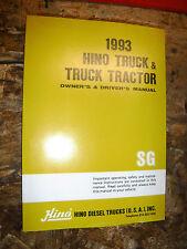 1993 HINO TRUCK TRACTOR ORIGINAL FACTORY OWNER'S DRIVER'S MANUAL MODELS  SG