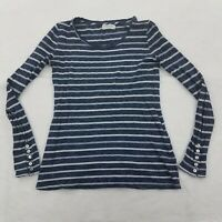 Velvet By Graham Spencer Striped Top Blue Long Sleeve Pullover Tee Size XS