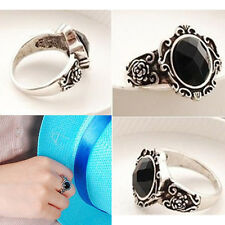 1pc Women Popular Vintage Simple Black Crystal Ring Retro Rhinestone Ring 9c