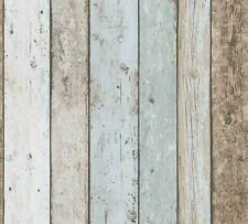 3D Effect Wood Panel Plank Wallpaper Distressed Cream Blue Brown A.S Creation