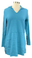 DENIM&CO size S aqua ribbed stretch knit hooded long sleeve tunic