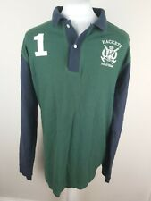 Mens Long Sleeve Hackett Rugby Polo Shirt Green Blue Xl Tailored 46 Chest