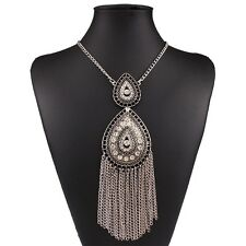 Teardrop Bling Crystal Rhinestone Pendant Long Tassel Fringe Bib Chain Necklace