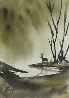 ACEO ATC original art miniature painting ' Wild Deer ' by Bill Lupton