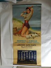 VINTAGE ADVERTISING CALENDAR-1957 PERFECT CIRCLE PISTON RINGS- VINTAGE GAS & OIL