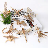 UK_ INSECT WOODCRAFT CONSTRUCTION KIT WOODEN MODEL 3D PUZZLE KID EDUCATIONAL TOY