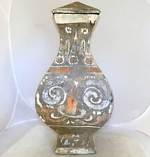 """HAN Dynasty ? Antique Chinese Pottery Painted Square Vase or Jar w/ Lid  (16.5"""")"""