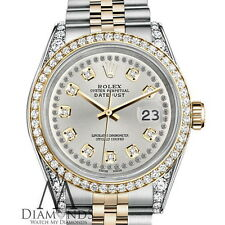 Ladies Rolex 31mm Datejust 2 Tone Silver Color String Diamond Accent Dial Watch