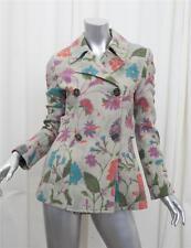 ETRO Womens Green Multicolor Floral Wool Long-Sleeve Peacoat Coat Jacket 40/4 S
