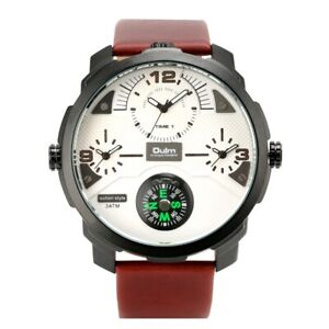 Cool OULM Watch Men's Quartz Analog Watches Three Time Zone Compass Leather Band