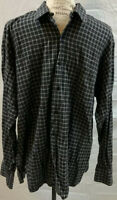 Ike Behar Button Up Shirt Size Large L Mens Black Gray Long Sleeve Checks EUC