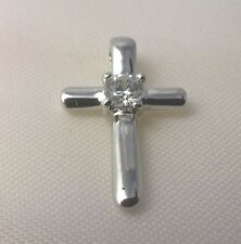G-Filled Ladies 18ct white gold simulated diamond crucifix pendant Jesus cross