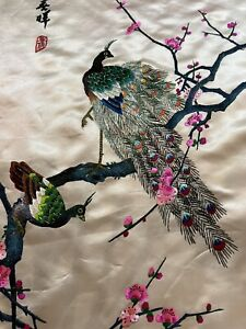 Antique Chinese Panel Wall Hanging Tapestry Hand Embroidery 77 X 106 Cm