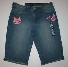 New Gap Kids Outlet Denim Kitty Face Butterfly Shorts Size 12 Yr NWT Adjustable