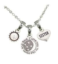 Sister Love You To The Moon Silver Chain Necklace Jewelry Sorority Sister Sis