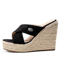Women Peep Toe High Platform Slippers High Wedge Heel Espadrilles Casual Mules B