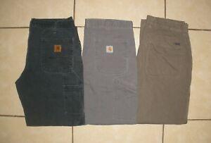 Lot of 3 Pants CARHARTT MOUNTAIN KHAKI Duck Flannel Lined Work Pants Men 36 x 30