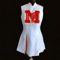 Vintage Cheerleading Size S White Red Letterman Uniform Costume Bull's Dress