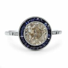 3 Ct Round Cut Sapphire Syn Diamond Art Deco Filigree Ring White Gold Fns Silver