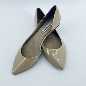 Steve Madden Elusion Patent Leather Nude Pointed Toe Flats Women's Size 8.5