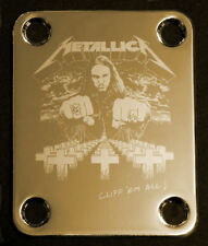 GUITAR NECK PLATE Custom Engraved Etched - METALLICA Bass CLIFF BURTON - Gold