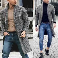 Men Plaid Wool Blends Winter Trench Coat Outwear Long Jacket Overcoat 00