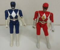 "VINTAGE Mighty Morphin Power Rangers Blue & Red Rangers 4"" Figure BANDAI 1993"