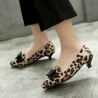 Womens Kitten Heel Leopard Faux Suede Pointy Toe Bows Pumps Casual Shoes Pull On