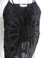NWT Athe Black Cotton Cami, Cut Out Embroidery, w/ Silk/Cotton Lining, 38/4 to 6