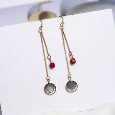 Gold Plated Red Natural Crystal Stone Shell Dangly Earrings Gift