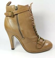 Topshop Angelica Tan Leather High Heel Ankle Boots Uk 5 Eu 38