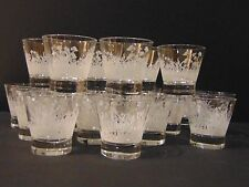 Sonnema Vodka Herb - 21 Glasses Lot - Clear With Frosted Paint Floral Design