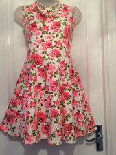 Mini dress white peach rose rockabilly dress stretch summer Festival  Boho 12