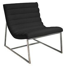 Modern Design Stainless Steel  Caviar Black Leather Sofa Chair Lounge ArmChair