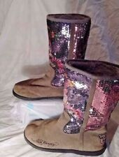 Ed Hardy Don Ed Women Brown Suede Mid Calf Sequined Pull Up Winter Boot Shoes 7M
