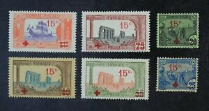 CKStamps: Tunisia Stamps Collection Scott#B12-B17 Mint H OG Thin