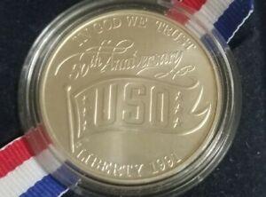 1991d  USO 50th Anniversary Silver Dollar Coin in original box