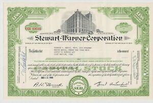 Stewart-Warner Corporation Stock Certificate Illinois