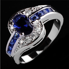 Women Blue Sapphire White Gold Filled Engagement Elegan Love Ring Jewelry YH60
