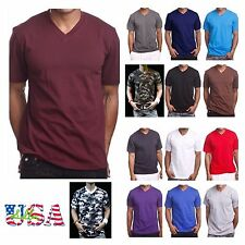 Men's HEAVY WEIGHT V-Neck T-Shirt Lot Plain Tee BIG And Tall Comfy Camo Hipster