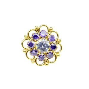 Indian Nose ring Blue White CZ studded gold plated Piercing Nose stud push pin